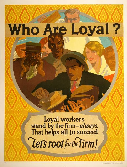 ORIGINAL VINTAGE 1927 MATHER WORK INCENTIVE POSTER -WHO ARE LOYAL? - LET'S ROOT FOR THE FIRM