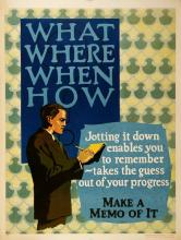 ORIGINAL VINTAGE 1927 MATHER WORK INCENTIVE POSTER -WHAT WHERE WHEN HOW