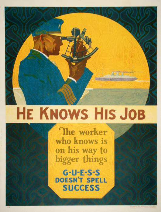 ORIGINAL VINTAGE 1927 MATHER WORK INCENTIVE POSTER -HE KNOWS HIS JOB
