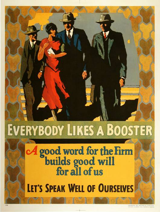 ORIGINAL VINTAGE 1927 MATHER WORK INCENTIVE POSTER -EVERYBODY LIKES A BOOSTER