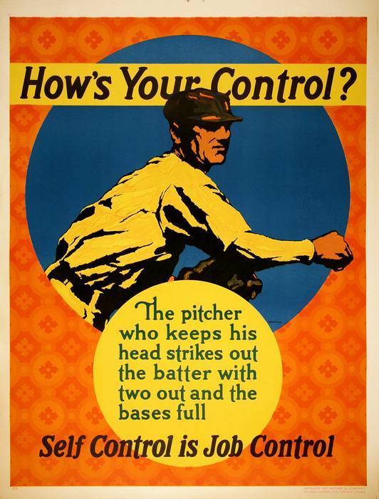 ORIGINAL VINTAGE 1927 MATHER WORK INCENTIVE POSTER -HOW'S YOUR CONTROL?