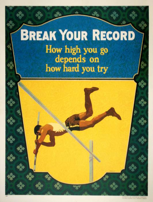 ORIGINAL VINTAGE 1927 MATHER WORK INCENTIVE POSTER -BREAK YOUR RECORD