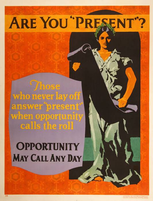 ORIGINAL VINTAGE 1927 MATHER WORK INCENTIVE POSTER -ARE YOU PRESENT?