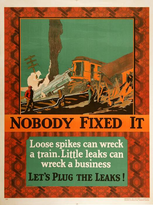 ORIGINAL VINTAGE 1927 MATHER WORK INCENTIVE POSTER -NOBODY FIXED IT