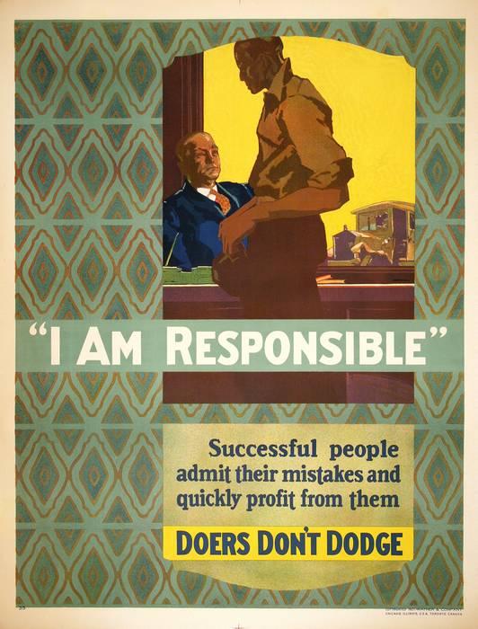 ORIGINAL VINTAGE 1927 MATHER WORK INCENTIVE POSTER -I AM RESPONSIBLE - DOERS DON'T DODGE