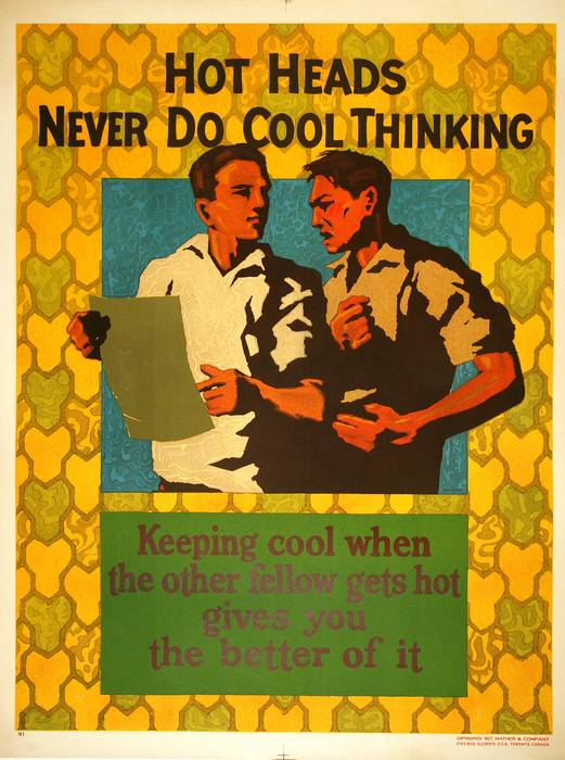 ORIGINAL VINTAGE 1927 MATHER WORK INCENTIVE POSTER -HOT HEADS NEVER DO COOL THINGS