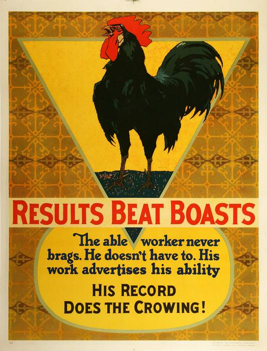 ORIGINAL VINTAGE 1927 MATHER WORK INCENTIVE POSTER -RESULTS BEAT BOASTS