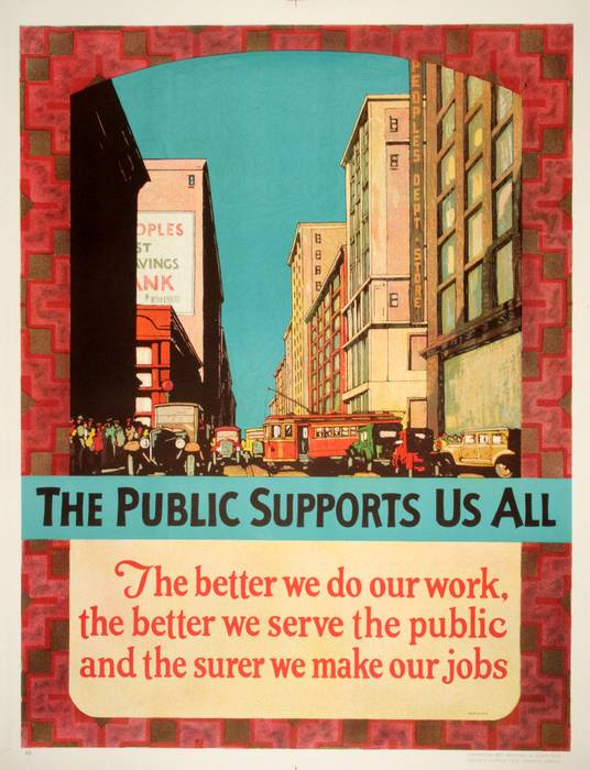 ORIGINAL VINTAGE 1927 MATHER WORK INCENTIVE POSTER -THE PUBLIC SUPPORTS US ALL