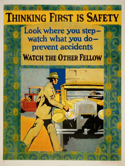 ORIGINAL VINTAGE 1927 MATHER WORK INCENTIVE POSTER -THINKING FIRST IS SAFETY