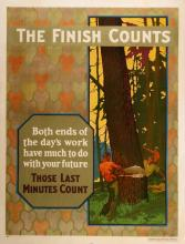 ORIGINAL VINTAGE 1927 MATHER WORK INCENTIVE POSTER -THE FINISH COUNTS