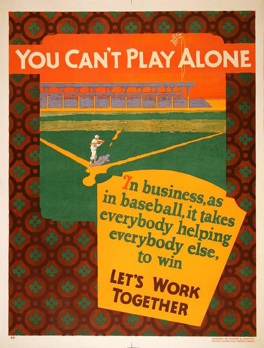 ORIGINAL VINTAGE 1927 MATHER WORK INCENTIVE POSTER -YOU CAN'T PLAY ALONE - LET'S WORK TOGETHER