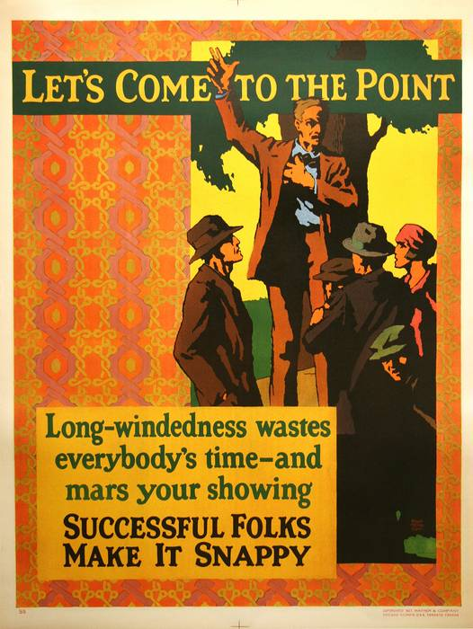 ORIGINAL VINTAGE 1927 MATHER WORK INCENTIVE POSTER -LET'S COME TO THE POINT