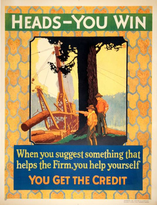 ORIGINAL VINTAGE 1927 MATHER WORK INCENTIVE POSTER -HEADS YOU WIN - YOU GET THE CREDIT