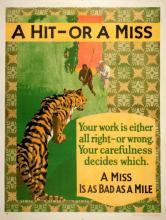 ORIGINAL VINTAGE 1927 MATHER WORK INCENTIVE POSTER -A HIT OR MISS - A MISS IS AS BAD AS A MILE