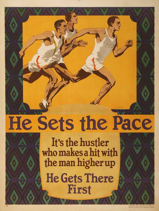 ORIGINAL VINTAGE 1927 MATHER WORK INCENTIVE POSTER -HE SETS THE PACE- TRACK AND FIELD
