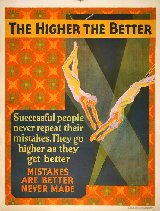 ORIGINAL VINTAGE 1927 MATHER WORK INCENTIVE POSTER -THE HIGHER THE BETTER- POLE VAULT
