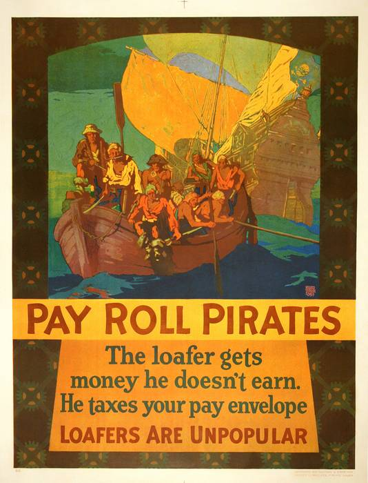 ORIGINAL VINTAGE 1927 MATHER WORK INCENTIVE POSTER -PAY ROLL PIRATES - LOAFERS ARE UNPOPULAR