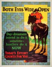 ORIGINAL VINTAGE 1927 MATHER WORK INCENTIVE POSTER -BOTH EYES WIDE OPEN - TODAY'S EFFORT COUNTS FOR YOU