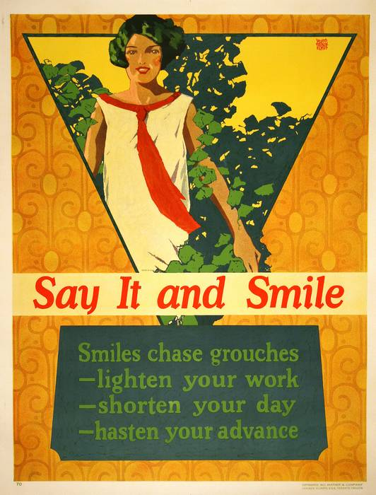 ORIGINAL VINTAGE 1927 MATHER WORK INCENTIVE POSTER -SAY IT AND SMILE - SMILES CHASE GROUCHES