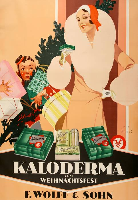 ORIGINAL ART DECO VINTAGE POSTER KALODERMA - PEACH DRESS BY JUPP WIERTZ 1927