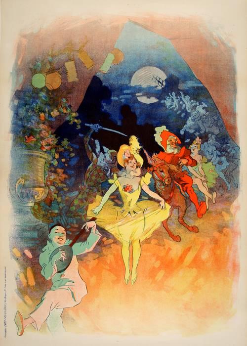 ORIGINAL VINTAGE MUSEE GREVIN AVANT LA LETTRE POSTER BY JULES CHERET 1900