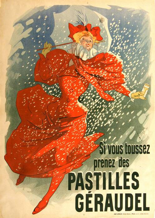 ORIGINAL PASTILLES GERAUDEL VINTAGE POSTER BY JULES CHERET 1895