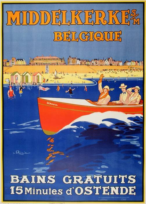 ORIGINAL MIDDELKERKE BELGIUM BAINS GRATUITS TRAVEL POSTER BY BAILLIE 1923 BOAT