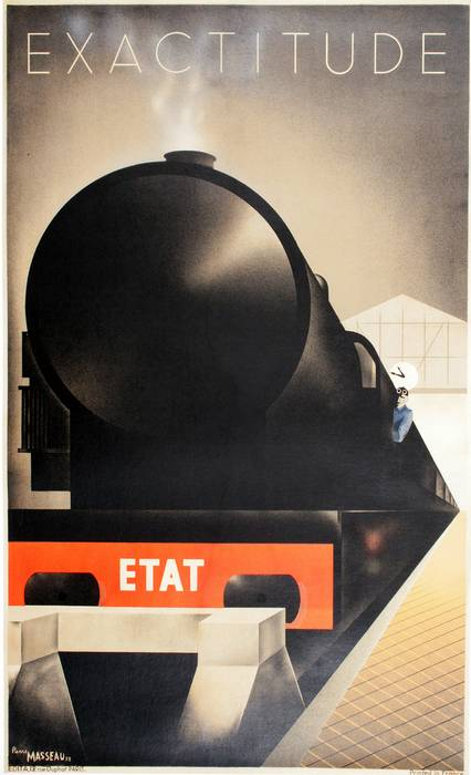 ORIGINAL RARE EXACTITUDE TRAIN VINTAGE POSTER BY FIX-MASSEAU 1932