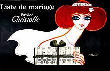 ORIGINAL VINTAGE OVERSIZE POSTER CHRISTOFLE - LISTE DE MARIAGE BY BERNARD VILLEMOT 1983