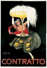 ORIGINAL VINTAGE CHAMPAGNE POSTER CONTRATTO BY LEONETTO CAPPIELLO - OVERSIZED 1922