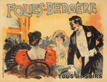 ORIGINAL VINTAGE FOLIES BERGERE- TOUS LES SOIRS BELLE EPOQUE POSTER BY PAL 1899