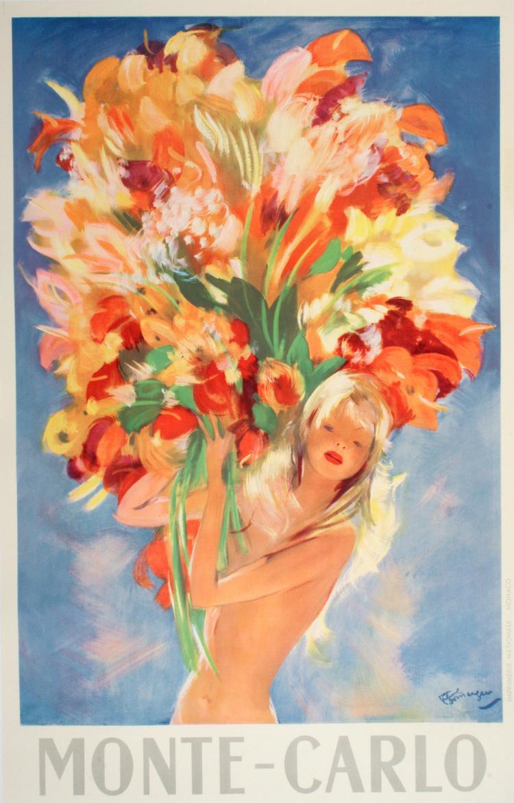 ORIGINAL VINTAGE MONTE CARLO FLOWERS POSTER BY JEAN GABRIEL DOMERGUE 1950