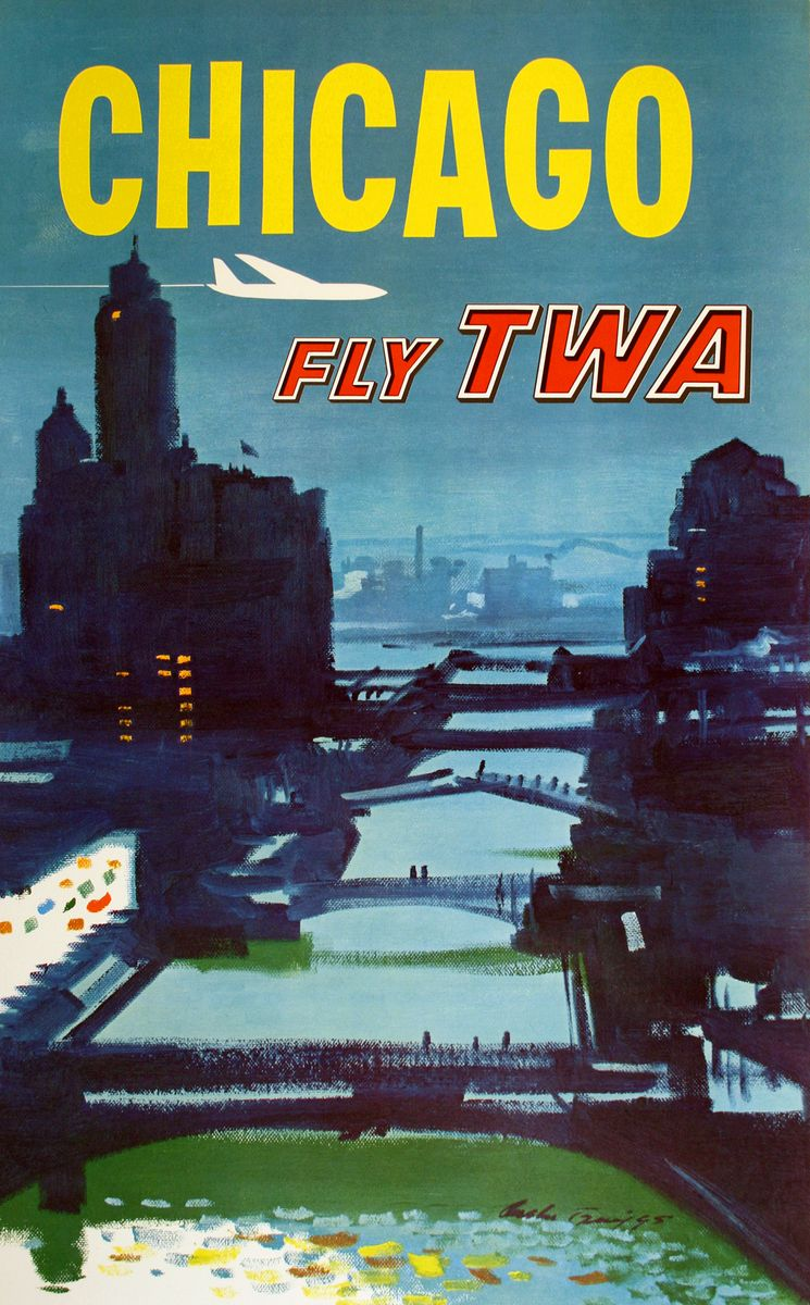 Twa chicago original vintage travel poster by austin brigg for Vintage chicago posters
