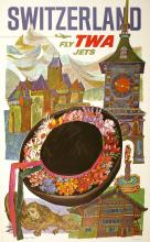 FLY TWA - SWITZERLAND BY DAVID KLEIN ORIGINAL VINTAGE TRAVEL POSTER 1965