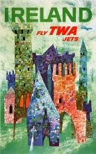 FLY TWA - IRELAND BY DAVID KLEIN ORIGINAL VINTAGE TRAVEL POSTER 1955