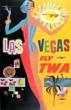 TWA - LAS VEGAS BY DAVID KLEIN ORIGINAL VINTAGE TRAVEL POSTER 1955