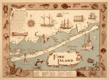 FIRE ISLAND MAP - IRVINE ORIGINAL VINTAGE TRAVEL POSTER BY DANIEL WELDON 1965