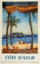 COTE D'AZUR ORIGINAL VINTAGE TRAVEL POSTER BY CERIA 1951