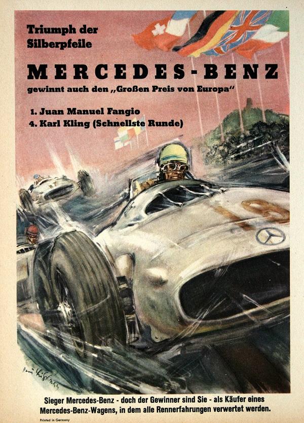 Mercedes triumph der silberfeile 1955 original vintage pos for Vintage mercedes benz posters