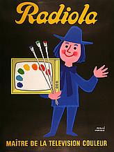 RADIOLA - PAINTER WITH PALETTE ORIGINAL VINTAGE POSTER BY HERVE MORVAN