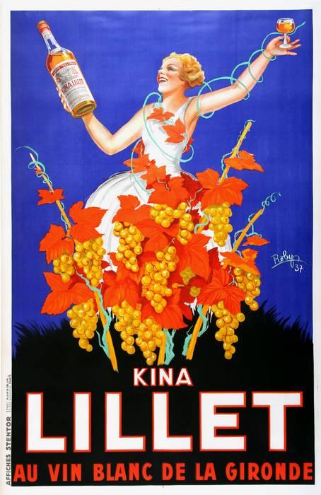 KINA LILLET ORIGINAL VINTAGE WINE POSTER BY ROBYS 1937 OVERSIZE