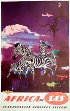 SAS - AFRICA - ZEBRAS ORIGINAL VINTAGE TRAVEL POSTER BY OTTO NIELSON C1955