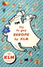 ORIGINAL VINTAGE TRAVEL POSTER FLY TO GAY EUROPE BY KLM 1950