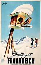 ORIGINAL VINTAGE GERMAN TRAVEL POSTER WINTERSPORT IN FRANKREICH BY JEAN LEGER 1950