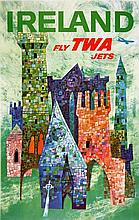 ORIGINAL VINTAGE FLY TWA - IRELAND TRAVEL POSTER BY DAVID KLEIN 1955