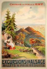 ORIGINAL EXCURSIONS EN ALSACE VINTAGE TRAVEL POSTER BY  GRENIER 1903