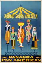ORIGINAL VINTAGE PAN AM TRAVEL POSTER- ROUND SOUTH AMERICA BY JALIER 1955