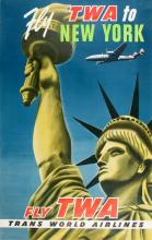 ORIGINAL VINTAGE FLY TWA TO NEW YORK - STATUE OF LIBERTY POSTER 1955