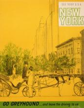GO GREYHOUND ORIGINAL VINTAGE NYC TRAVEL POSTER BY ROTH 1965