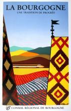 ORIGINAL VINTAGE BURGUNDY TRAVEL POSTER LA BOURGOGNE BY BERNARD VILLEMOT 1984